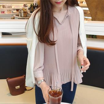640651 - Ribbon wrinkle blouse
