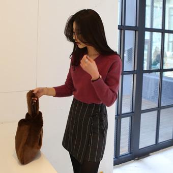 646650 - Check ribbon wool skirt