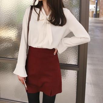 649403 - Blanc scarf blouse