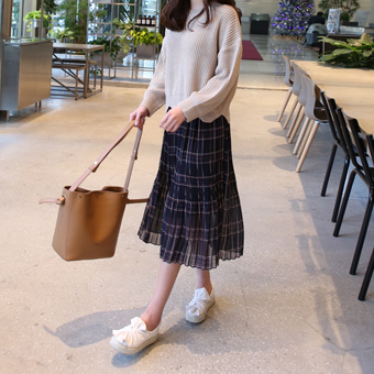 656055 - Check pleated skirt