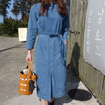 664017 - Long pocket denim dress