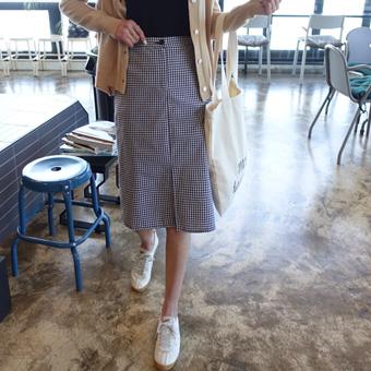 664355 - Gingham skirt banding