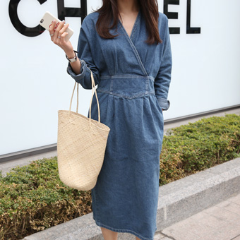 666680 - V denim long dress