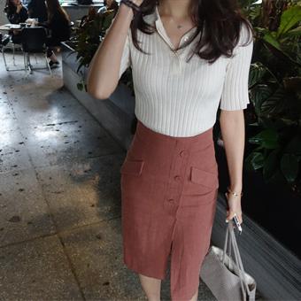 666596 - Linen button cut skirt