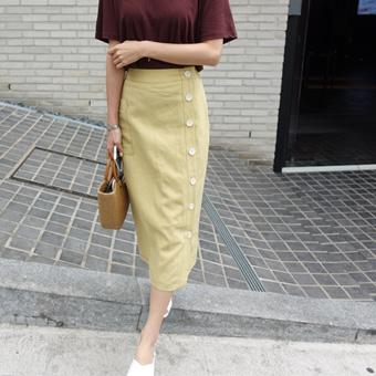 668617 - Linen stitch button skirt