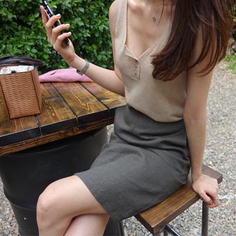 694802 - Linen banding H skirt