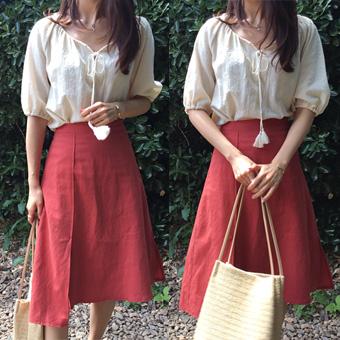 704965 - Slit unlined linen skirt