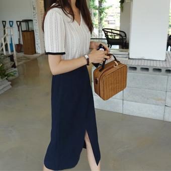 707280 - Simple slit skirt