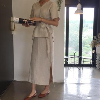 714661 - Basic linen slit skirt