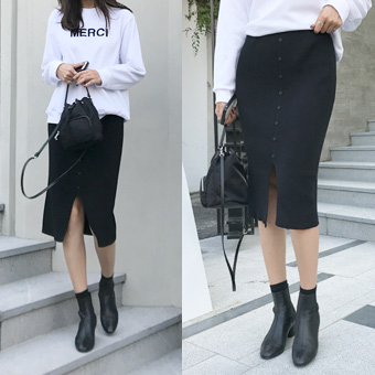 727894 - Bean button knit skirt