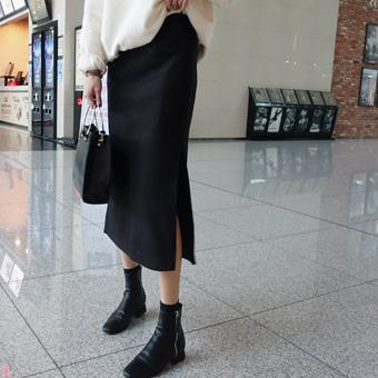 738657 - Wool slit skirt