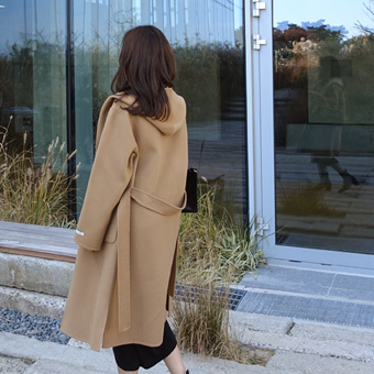 738901 - Hooded Shawl Handmade Coat