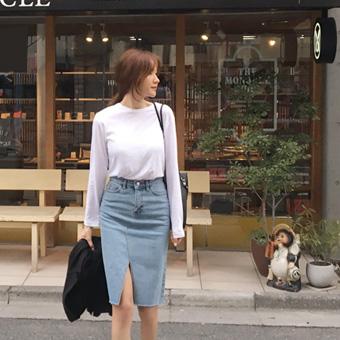 753163 - Front denim skirt