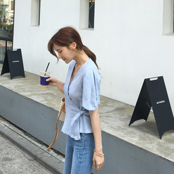 754822 - Balloon lap check blouse