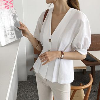 754953 - Linen puff blouse
