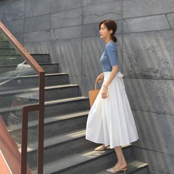 755066 - Long skirt with linen ribbon